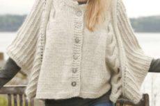 Схема вязания Белое пончо с косами: Дав DROPS 150-12 Dove