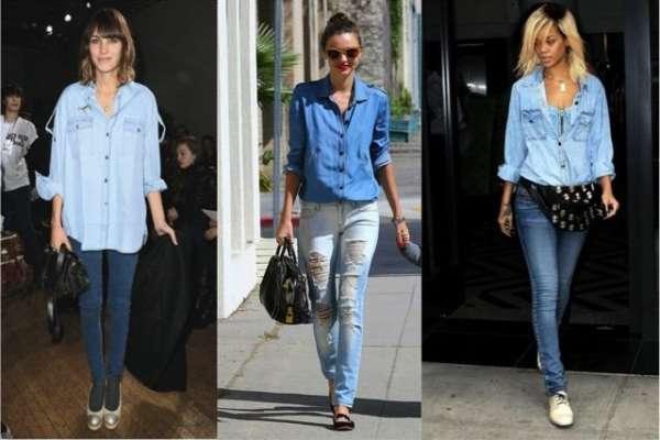 C чем носить джинсовую рубашку