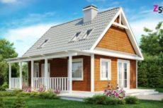 Проект небольшого дачного домика с фронтальной террасой и двускатной крышей