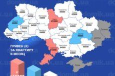 Стоимость аренды однокомнатных квартир в новостройках разных городов Украины в декабре 2017 года: инфографика