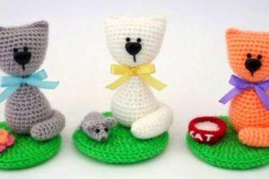 5 мастер-классов по вязанию игрушек амигуруми (кота, мышки, миски с молоком, цве