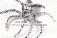 Поделки из бисера схемы животных: паук, осьминог, павлин, оса, брелок из бисера