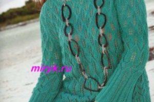 Ажурный пуловер «Crowned Pigeon» цвета морской волны