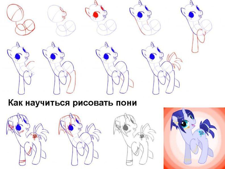 Как нарисовать пони акварелью